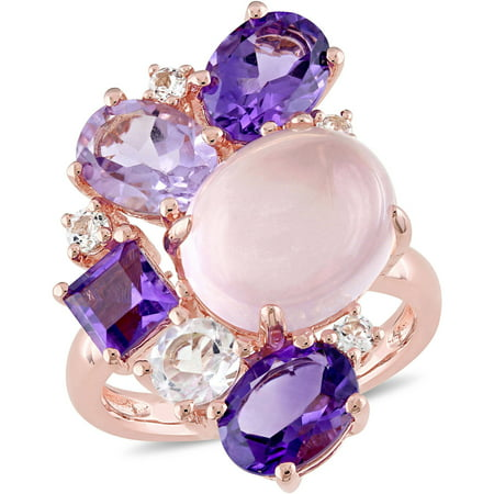 Tangelo 11-1/4 Carat T.G.W. Rose Quartz, African Amethyst, Rose de France and White Topaz Pink Rhodium-Plated Sterling Silver Cluster Cocktail Ring