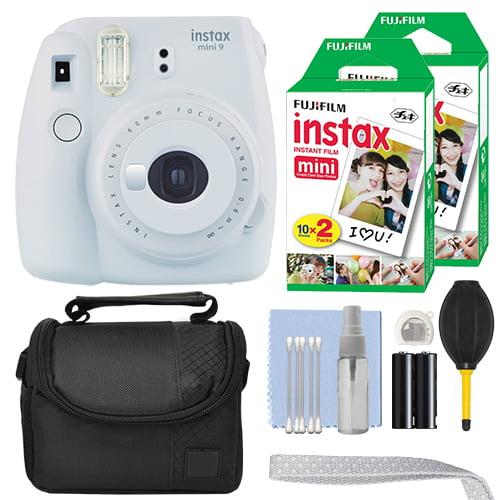 FujiFilm Instax Mini 9 Instant Film Camera Smokey White + 40 Film Accessory Kit by Fujifilm