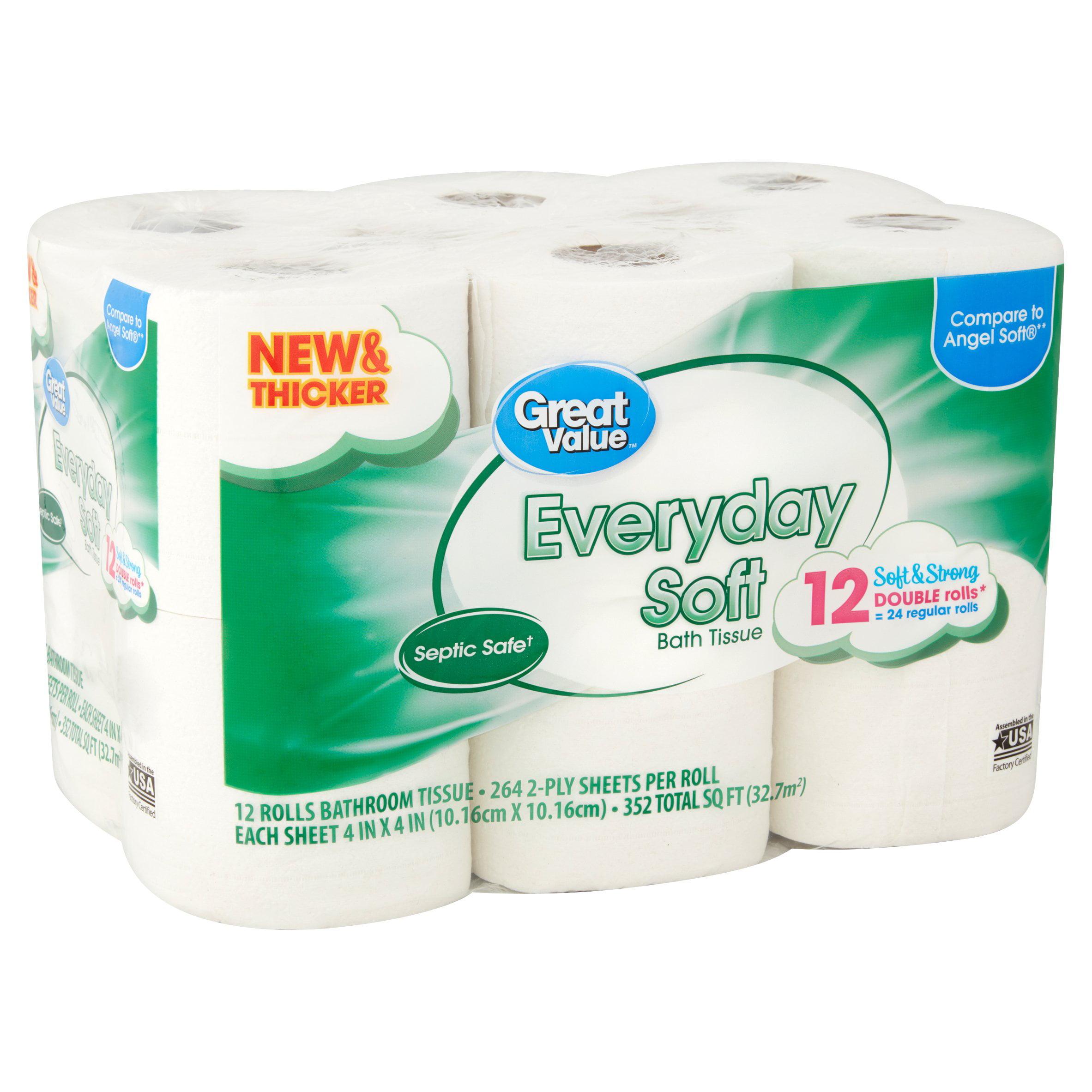 great value everyday soft rolls bathroom tissue 12 count walmartcom - Bathroom Tissue