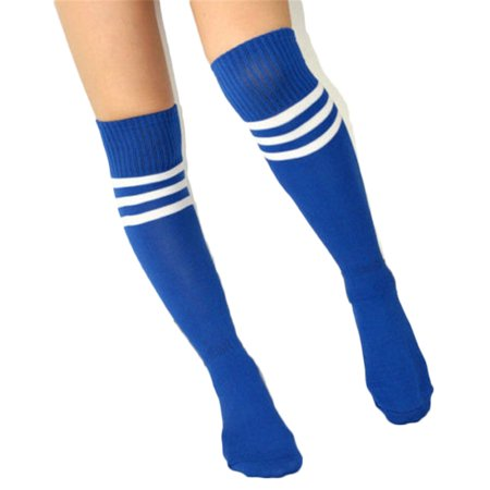 Unisex Knee High Triple Stripe Athletic Soccer Tube Sock a Pair