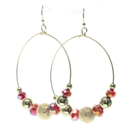 Gold Tone Beaded Hoop (Hoop Earrings With Faceted Bead Accents For Women Gold-Tone )