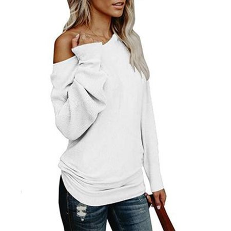 Womens Off The Shoulder Sweater Oversized Knit Long Sleeve Sweaters Tunic Tops