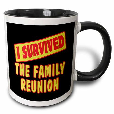 Family Reunion Designs (3dRose I Survived The Family Reunion Survial Pride And Humor Design - Two Tone Black Mug, 11-ounce)