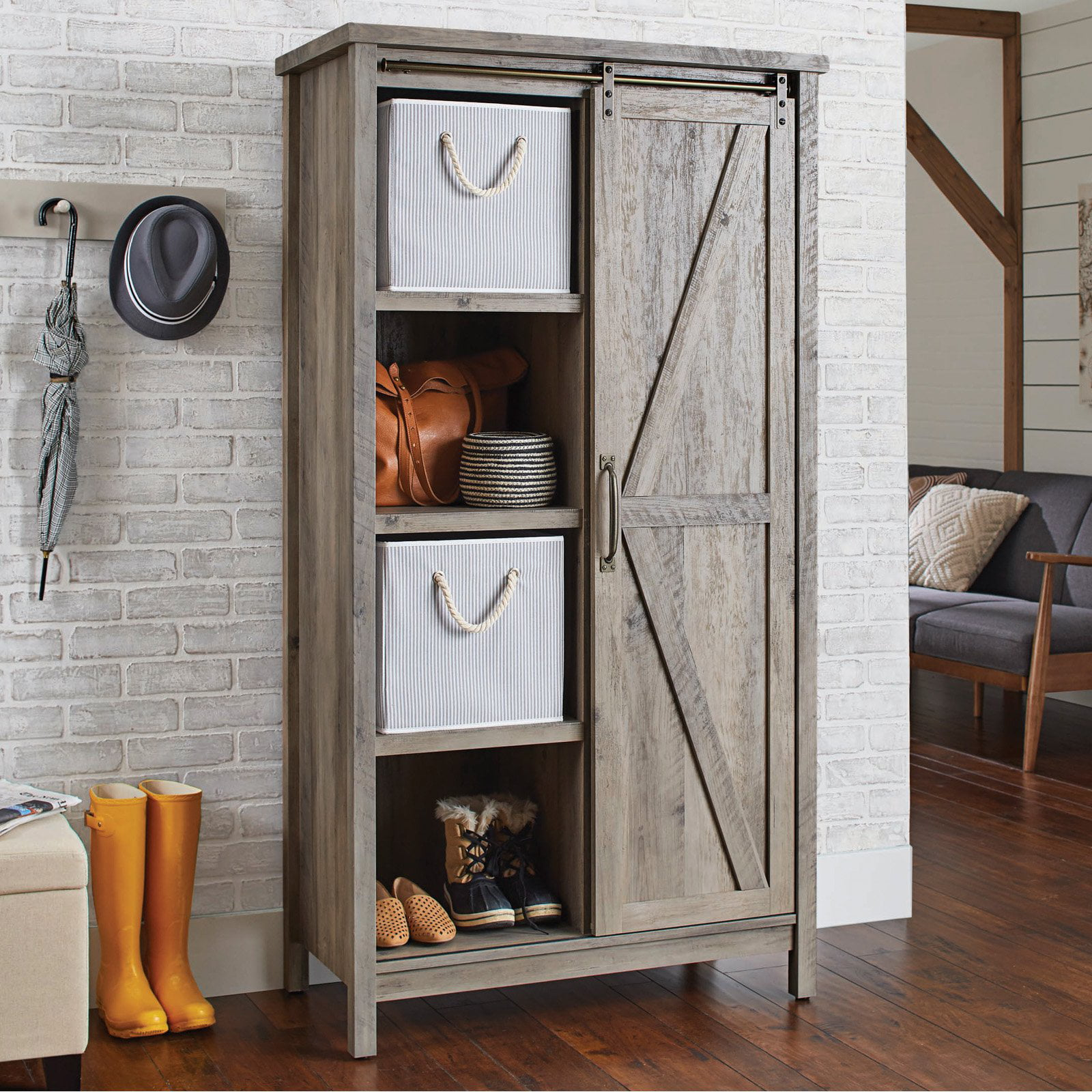 Modern Country Farmhouse Tall Storage Cabinet Sliding Barn Doors Rustic Gray Ebay