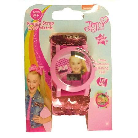 JoJo Siwa Sequin Strap Flashing Dial Watch (Pink) Dial Pink Strap Watch