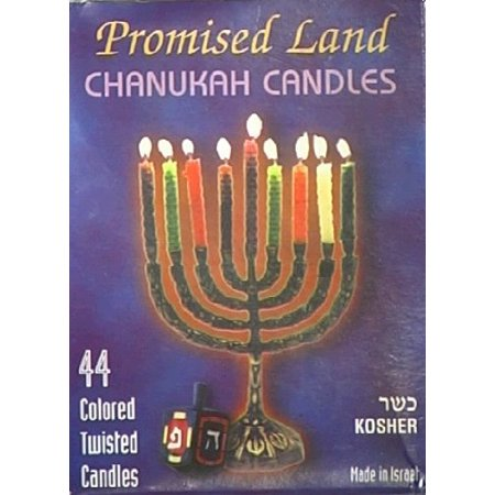 Chanukah Candles, 44 ct, Colored Twisted Candles By Promised Land](Hanukkah Decor)