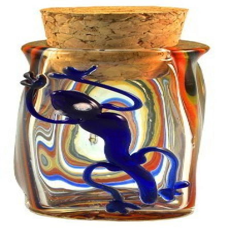 """Lizard Swirl Hand Blown Pyrex Jar w//Cork 3.5/"""""""