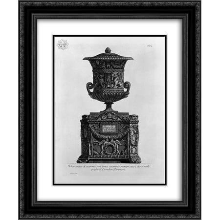 Giovanni Battista Piranesi 2x Matted 20x24 Black Ornate Framed Art Print 'Antique vase on a marble cinerary urn'