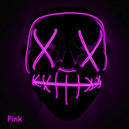 Scary Halloween Mask LED Light Up Mask for Festival Cosplay Halloween Costume Pink](Cosplay Armour For Sale)