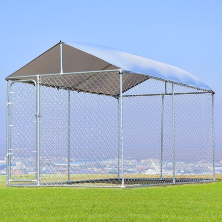 Gymax Large Pet Dog Run House Kennel Shade Cage 7 5 X13