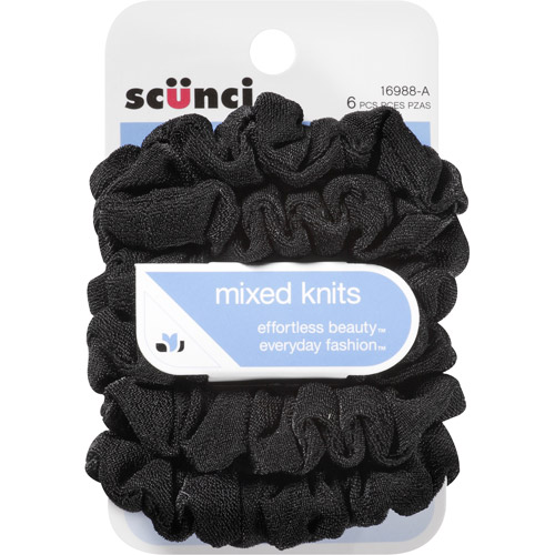 Scunci Effortless Beauty Mixed Knits Hair Ties, 6 count