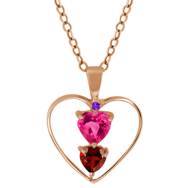 0.86 Ct Heart Shape Pink Mystic Topaz Red Garnet Gold Plated Silver Pendant