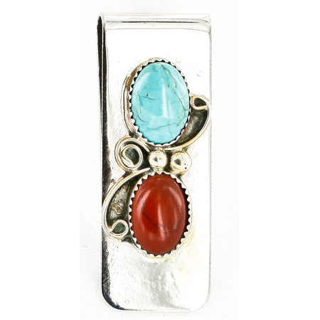 Handmade Red Jasper - Handmade Certified Authentic Navajo Nickel and .925 Sterling Silver Natural Turquoise Red Jasper Native American Money Clip
