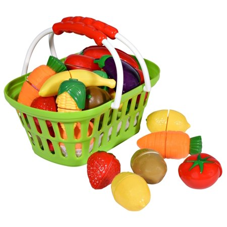 - Playkidz: Super Durable Healthy Fruit and Vegetables Basket Pretend Play Kitchen Food Educational Playset with Toy Knife, Cutting board (32 Pieces of fruit and vegetable toys)