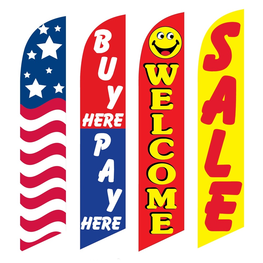 4 Advertising Swooper Flags USA Buy Pay Here Welcome Sale
