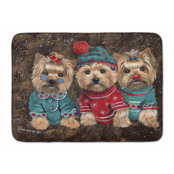 Yorkshire Terrier Yorkie Christmas Elves Machine Washable Memory Foam Mat Walmart Com Walmart Com