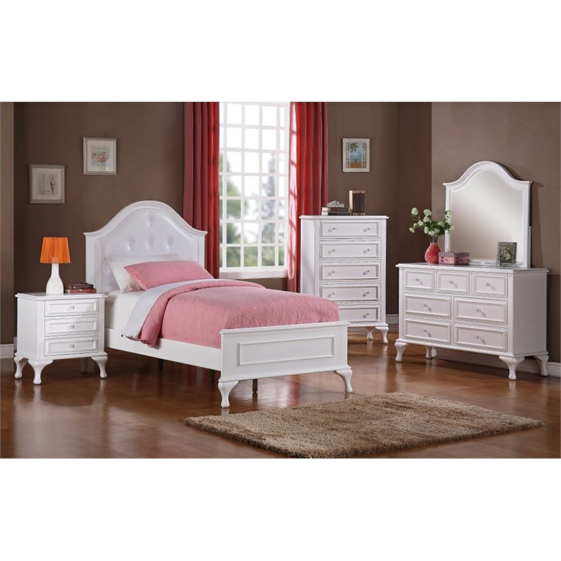 Product Image Picket House Furnishings Jenna 4 Piece Twin Kids Bedroom Set  In White