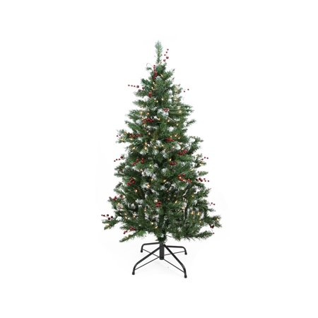 4.5\' Pre-Lit Frosted Denver Pine with Berries Medium Artificial ...