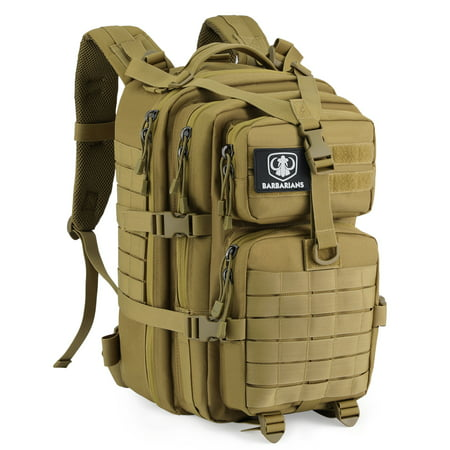 35L Tactical Backpack, Barbarians Molle Bug Out Bag Military Assault Pack Rucksack for Outdoor Hiking Camping Trekking Desert Yellow