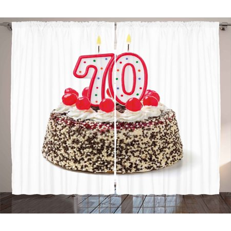 70th Birthday Decorations Curtains 2 Panels Set Cake With 70 Number Candles Sprinkles Party
