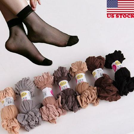 The Noble Collection Women Nylon Elastic Short Ankle Sheer Stockings Silk Short Socks 10
