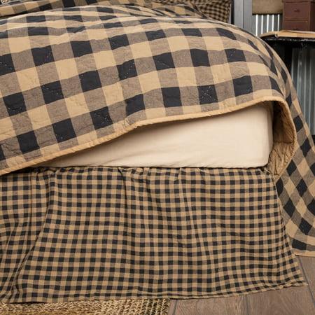 Raven Black Primitive Bedding Cody Black Check Cotton Split Corners Gathered Check Queen Bed Skirt