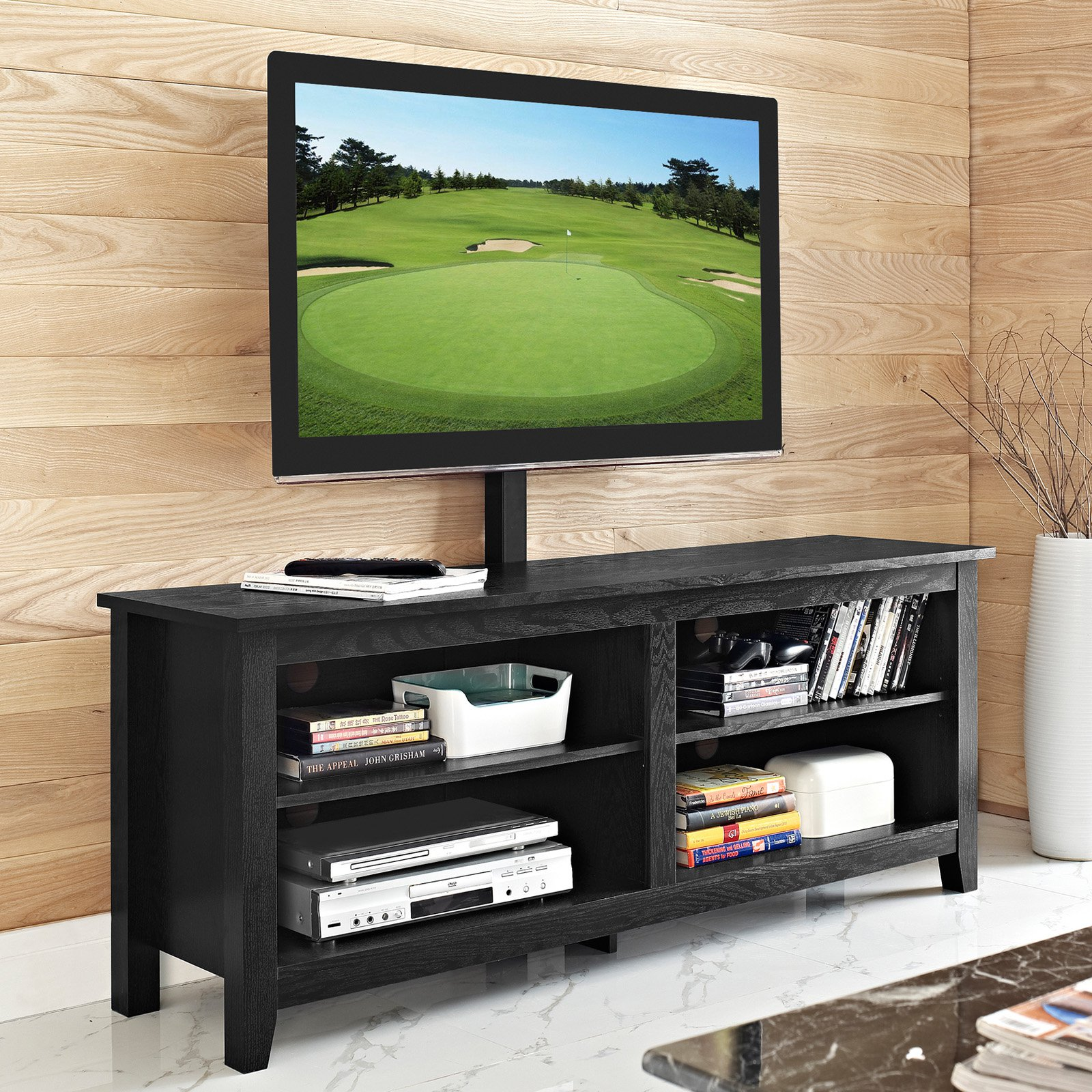 "58"" Wood Media TV Stand Console with Mount, Black"
