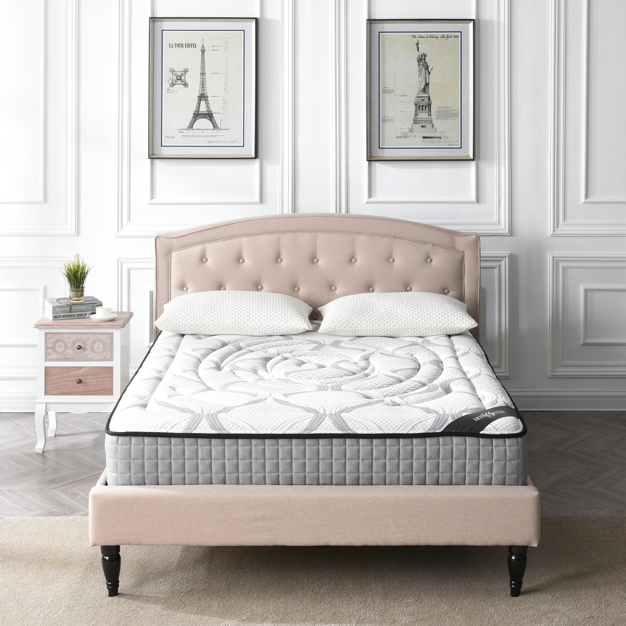 Hotel Style 10.5-Inch Medium Firm Memory Foam and Individually Encased Spring Mattress