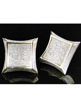 White Diamond 25MM XL Kite Earring set in 10k Yellow Gold (1.75 Ct)