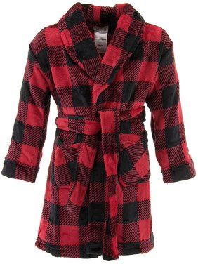 Komar kids boys' red check fleece pajama robe