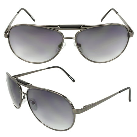 Pilot Fashion Aviator Sunglasses Black Frame Purple Black Lenses for Men and Women ()