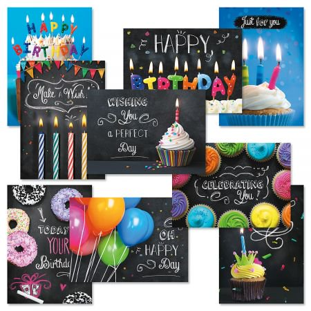 Blackboard Birthday Greeting Cards with Seals Value Pack - Set of 20 (10 designs), Large 5