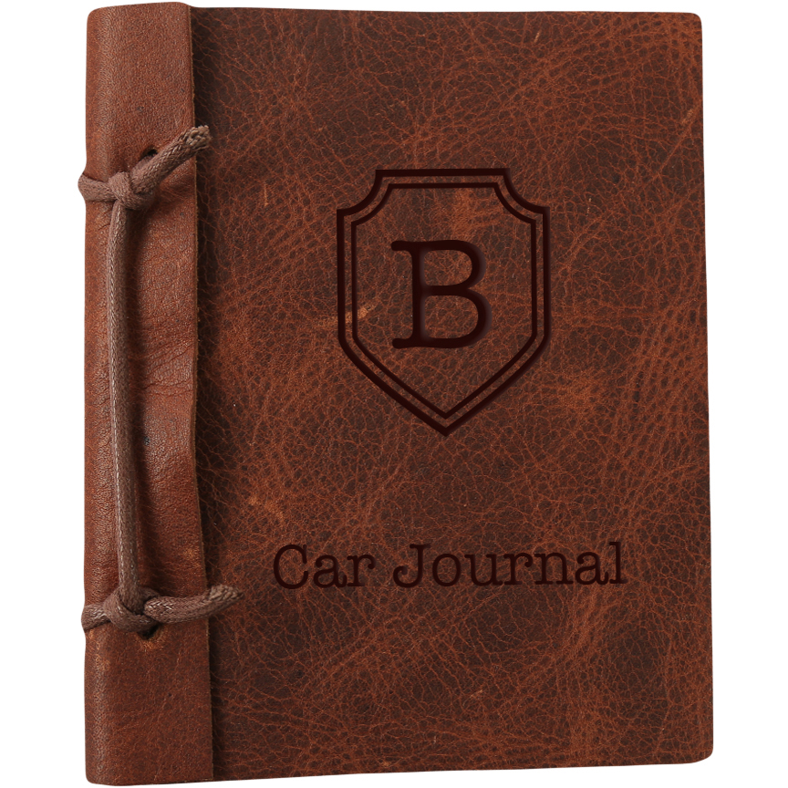 "Custom Authentic Leather Car Journal, Large: 8.8"" x 5.85"""