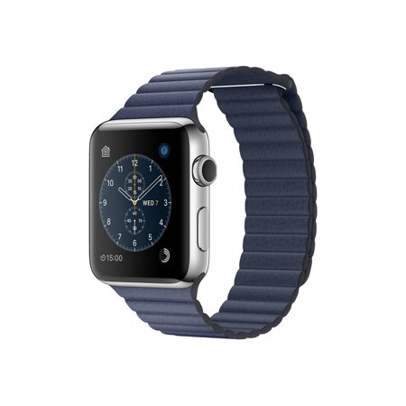 Apple Watch Series 2   42 Mm   Stainless Steel   Smart Watch With Leather Loop   Leather   Midnight Blue   180 210 Mm   L   Wi Fi  Bluetooth   1 85 Oz