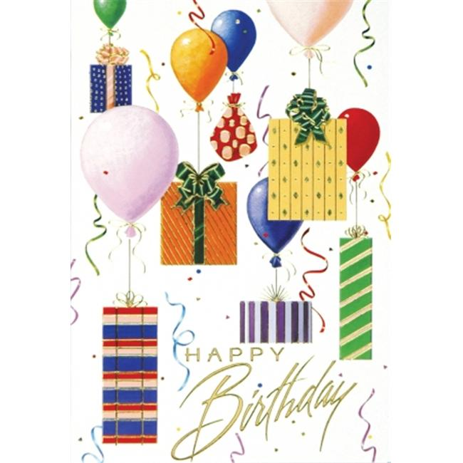 Birchcraft Studios 1942 Balloons & Presents - Gold Lined Envelope with White Lining - Red Ink - Pack of 25