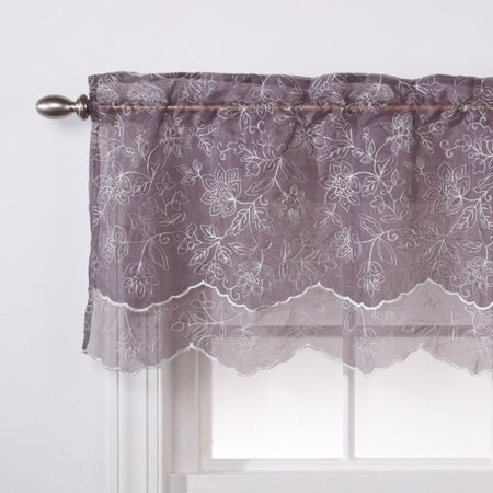 - Reese Embroidered Sheer Layered Curtain Valance, 55