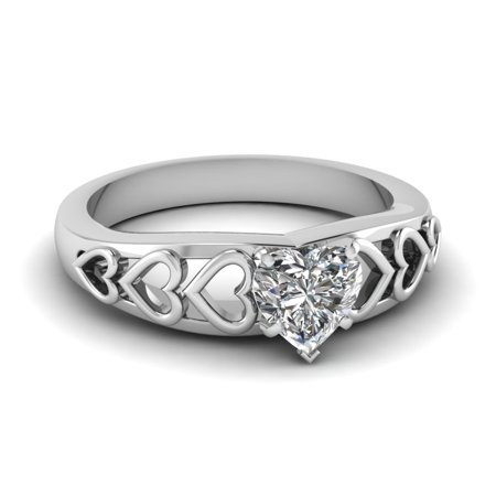 1/2 Carat Heart Shaped Diamond Solitaire Engagement Rings For Women In 14K White Gold GIA Certified