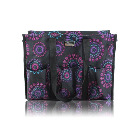 Check Small Tote - Pursetti Zip-Top Organizing Utility Tote Bag with Multiple Exterior & Interior Pockets for Working Women, Nurses, Teachers and Soccer Moms (Purple Circle)