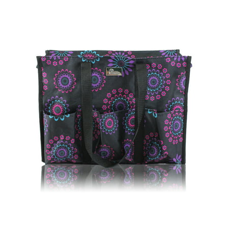 Pursetti Zip-Top Organizing Utility Tote Bag with Multiple Exterior & Interior Pockets for Working Women, Nurses, Teachers and Soccer Moms (Purple Circle) Classic Top Zip Shoulder Bag