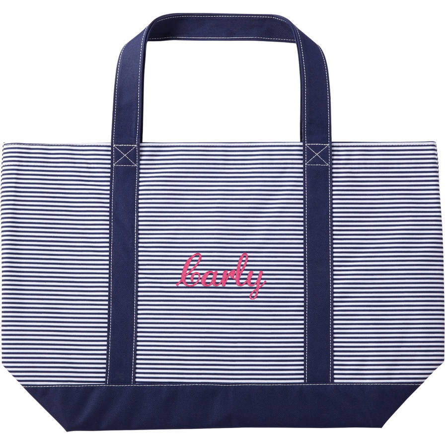Personalized Or Monogram Navy Pinstripe Tote, Available In Different Font's