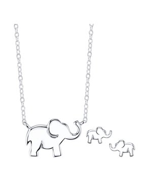 Believe by Brilliance Sterling Silver Elephant Necklace and Earrings Jewelry Set