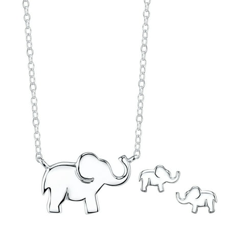 Sterling Silver Elephant Necklace and Earrings Jewelry (Beautiful Jewelry Set)