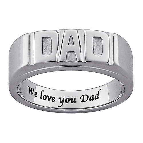 "Personalized Men's Stainless Steel Engraved ""DAD"" Ring"