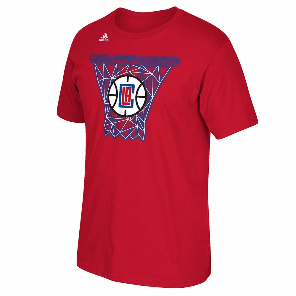 """Los Angeles Clippers NBA Adidas Red """"Net Web"""" Graphic Short Sleeve T-Shirt For Men"""