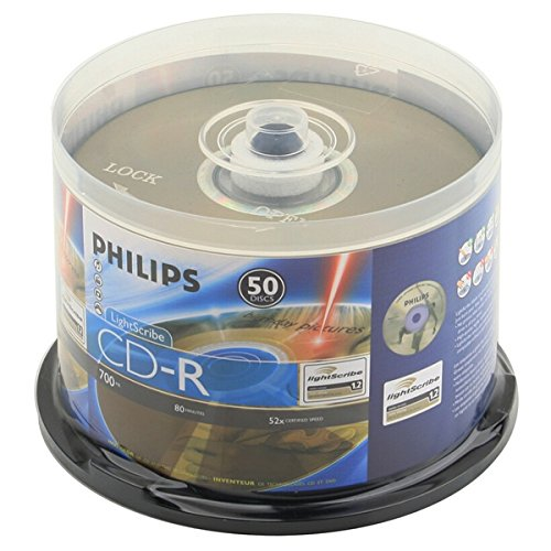 Philips Lightscribe Blank Media Disc CD-R 52X Speed / 700MB / 80min - 50PK Cake Box