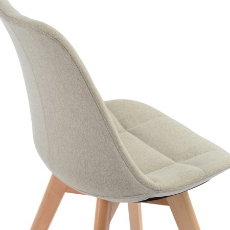 Ddining Chair ,white pu back and seat wood feet Cream - image 3 of 6