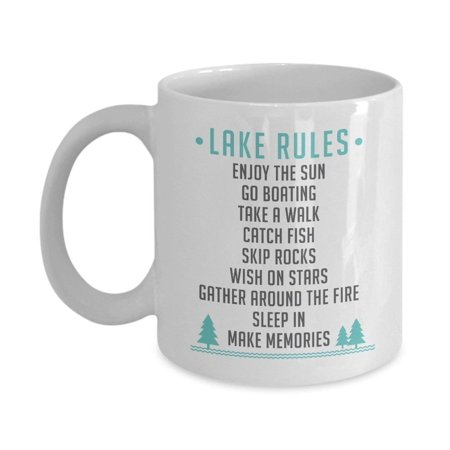 Lake Rules Funny List Coffee & Tea Gift Mug For Summer Time Vacation At The (Vacation Races)