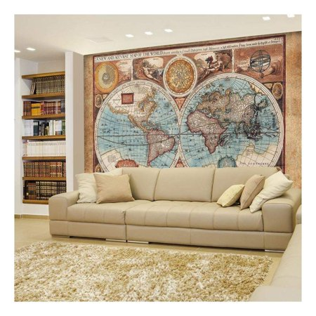 wall26 - Antique Illustrated Map of The World - Two Sphere Projection - Historical Depiction - Wall Mural, Removable Sticker, Home Decor - 100x144