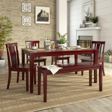 Lexington Large Dining Set with Bench and 4 Slat Back Chairs ()