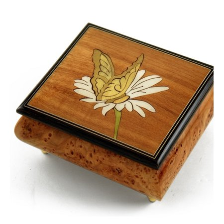 Gorgeous Natural Wood Tone Butterfly and Daisy Inlay Music Box - American Dream, The